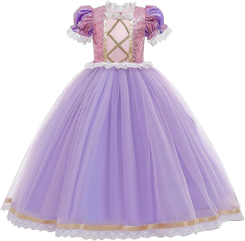 taglie 98-140 Costume da principessa Rapunzel lungo per feste di carnevale e damigella donore IBTOM CASTLE