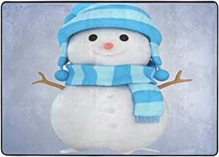 Merry Christmas Blue White Snowman Flannel Carpet Soft Non-Slip Area Rugs Bedroom Rugs Easy Clean Bedside Rugs Decorative Floor Blanket Luxury Absorbent Floor Mat for Bedroom Bedside Sofa-84x60In