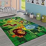 Paco Home Kinderteppich Kinderzimmer Dschungel Tiere Giraffe Löwe AFFE Nilpferd