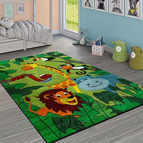 Paco Home Kinderteppich Kinderzimmer Dschungel Tiere Giraffe Löwe AFFE Nilpferd Grün, Grösse:80x150 cm