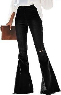 Sidefeel Women Destoryed Flare Jeans Elastic Waist Bell Bottom Raw Hem Denim Pants
