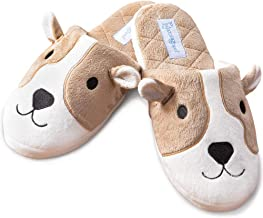 PajamaGram Dog Slippers for Women - Cute Slippers, Washable, Tan/White
