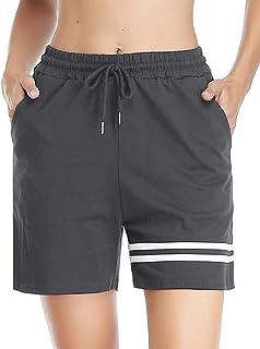 Pantalones Corto Chandal Mujer 100% Algodón Raya Pantalon Corto Pijama Pantalones Deporte Cortos para Fitness,Jogging