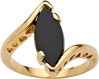 18K Yellow Gold Plated Marquise Shaped Natural Black Onyx Bypass Ring