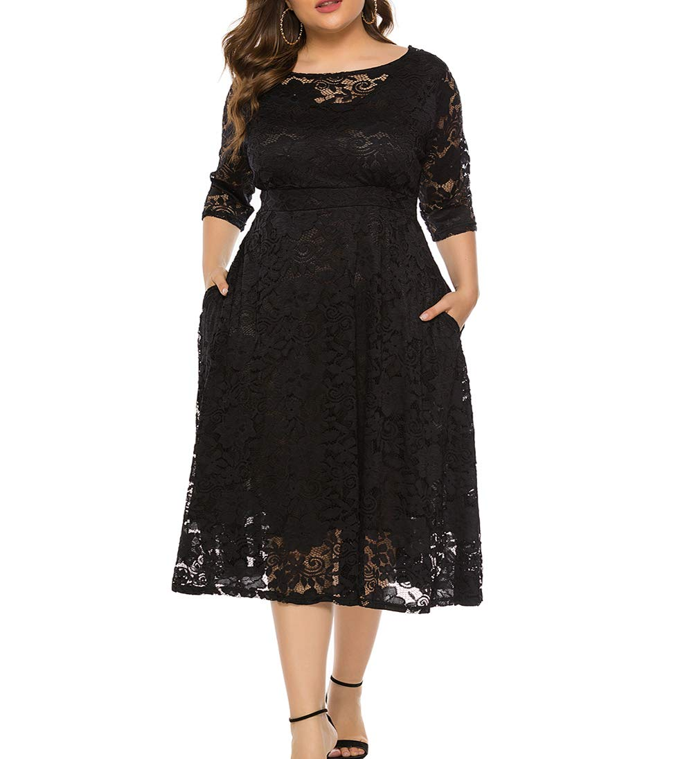 Plus Size Dresses - Women's Ruffle Oversize Casual Midi Dresses With Pockets