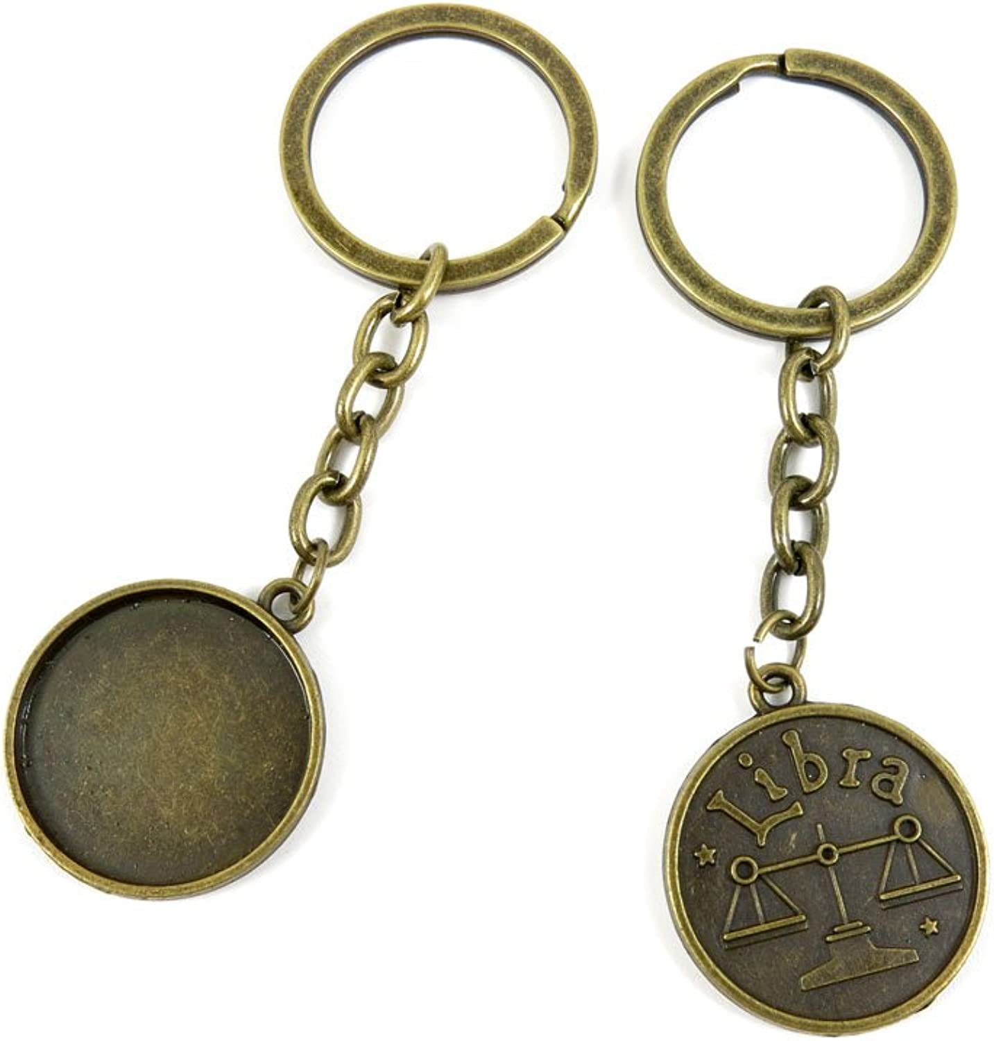 100 PCS Keyrings Keychains Key Ring Chains Tags Jewelry Findings Clasps Buckles Supplies I4ZI2 Libra Cabochon Blank Base