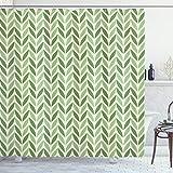 ABAKUHAUS Retro Duschvorhang, symmetrische Grün, Digital auf Stoff Bedruckt inkl.12 Haken Farbfest Wasser Bakterie Resistent, 175 x 180 cm, Grün hellgrün