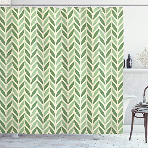 ABAKUHAUS Retro Duschvorhang, symmetrische Grün, Digital auf Stoff Bedruckt inkl.12 Haken Farbfest Wasser Bakterie Resistent, 175 x 200 cm, Grün hellgrün