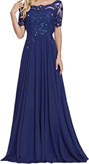 Mother of The Bride Dresses Lace Appliques Beads Chiffon Evening Formal Gown