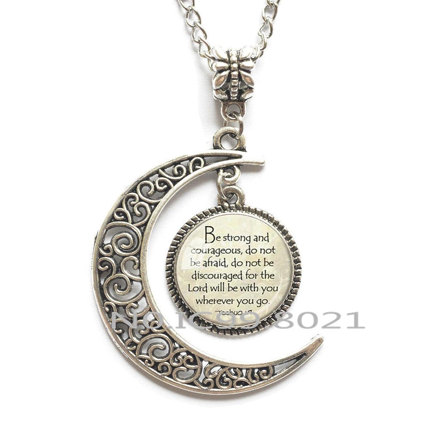 maoqunza JOSHUA 1:9 PENDANT ENCOURAGEMENT Scripture Necklace Christian Pendant Necklace Christian Gift for Christian Jewish Gift Bible Quote Pendant.XT036