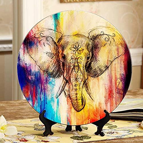 Divertido elefante rojo feliz decoración platos exhibición para platos hogar wobble-Plate con soporte de exhibición decoración hogar placas de postre decorativas