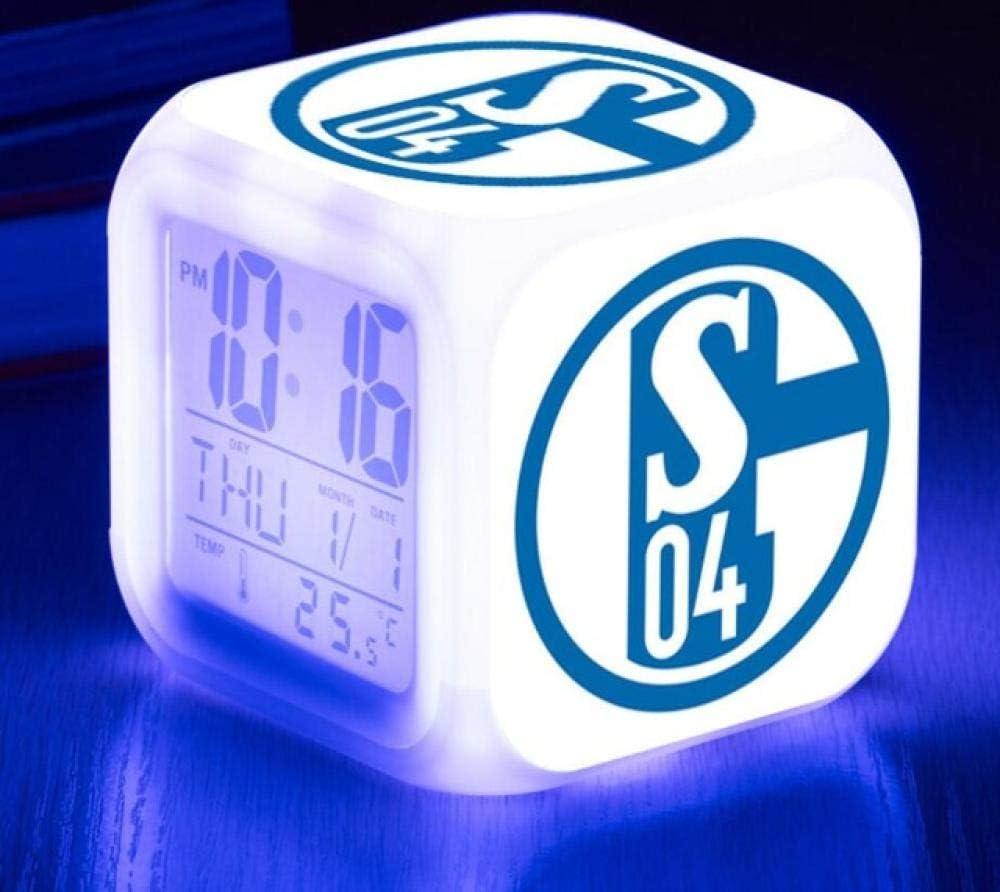 Sveglie digitali,Napoli club di calcio 14 LED Night Cube incandescente Orologio LCD con bambini leggeri Sveglia Comodino Regali di compleanno per bambini Donne Camera da letto per adulti