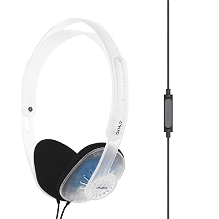 Koss KPH30iCL On-Ear Headphones, in-Line Microphone and Touch Remote Control, D-Profile Design, Wired with 3.5mm Plug (Clear)