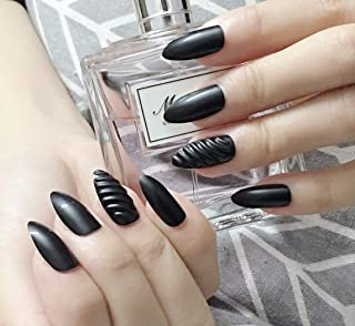 Black Stiletto False Nails Vintage Elegant Party Fake Nails 3D Artificial Nail Art Medium Size Full Cover Acrylic Nails 24PCS