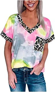 Women Summer T-shirt Tops, Ladies Leopard Patchwork V Neck Short Sleeve Sweatshirts Tops