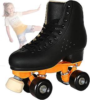 Roller Skates for Women and Men Cowhide High-Top Shoes Classic Double-Row Roller Skates Four-Wheel Roller Skates for Men Girls Unisex