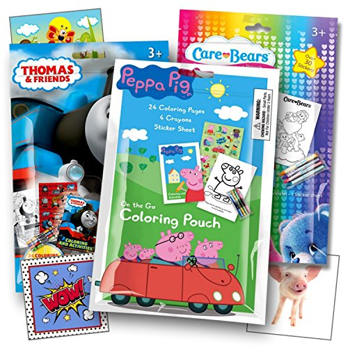Peppa Pig, Thomas The Train, and Care Bears Fun Coloring Activity Packs with Stickers, Crayons and Coloring Books Bundled with Separately Licensed GWW Reward Prize Stickers