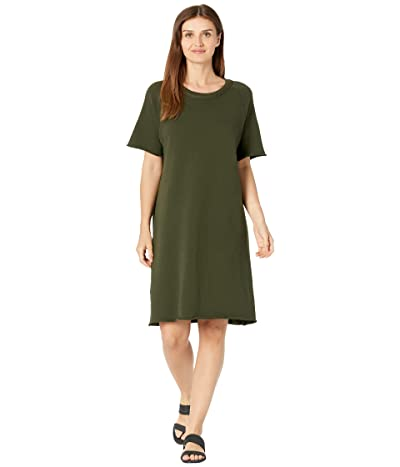 Eileen Fisher Petite Crew Neck Dress In Organic Cotton French Terry