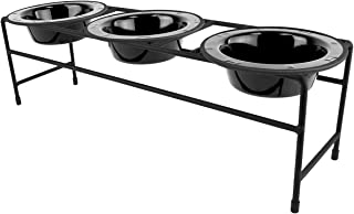 Platinum Pets Modern Triple Diner Feeder with Stainless Steel Cat/Dog Bowls