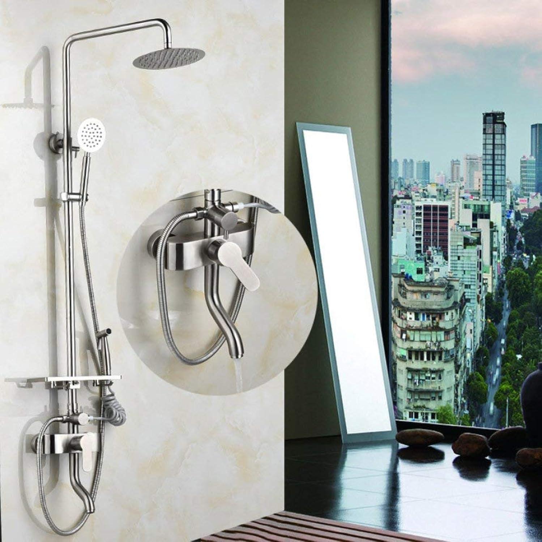 Die Duschen, Edelstahl vierten Gang Dusche, Dusche, Feste Duschkopf Handbrause Wasserhahn Set,gebürstetes Nickel Gold Farbe Düse