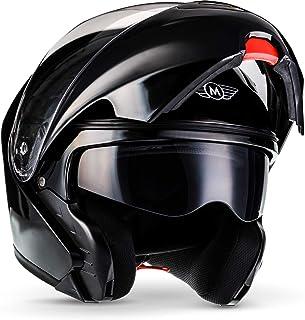 "Moto Helmets® F19 ""Gloss Black"" · Motorrad Helm · Klapp Helm Modular Helm Flip up Integral Helm Motorrad Helm Roller Helm Sport · ECE 22.05 Sonnenvisier Schnellverschluss Tasche M (57 58cm)"