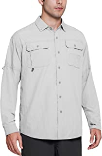 Soniz Men's UPF 50+ Sun Protection Outdoor Long Sleeve Shirt Quick Dry Lightweight Fishing Shirt