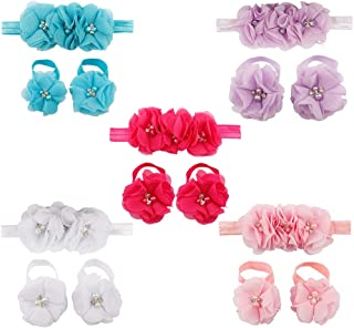Baby Barefoot Flower Sandals & Headbands Set Hand-made Chiffon Hairband Elastic Newborn Headwear Shoes Socks