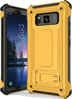 Anccer Armor Series for Samsung Galaxy S8 Active Case with Kickstand Anti Shock Dual Layer Anti Fingerprint Protective Cover for Galaxy S8 Active (Not Fit for Galaxy S8) - Yellow