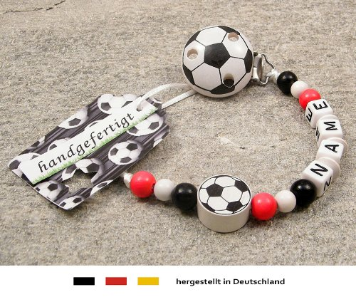 kleinerStorch Baby SCHNULLERKETTE mit Namen - Motiv Fussball in Vereinsfarben - rot, weiß, schwarz