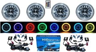 OCTANE LIGHTING 5-3/4 RGB SMD Multi-Color White RED Blue Green LED Halo 6k HID H4 Headlights SET