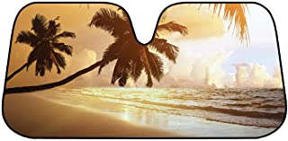 BDK Golden Palm Tree Beach Sunset Front Windshield Sun Shade - Accordion Folding Auto Sunshade for Car Truck SUV - Blocks UV Rays Sun Visor Protector - Keeps Your Vehicle Cool - 58 x 28 Inch