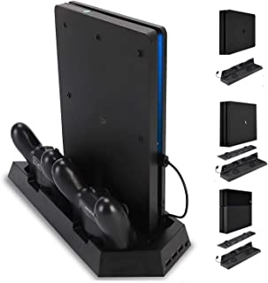 PS4 Charging Station Stand with Cooling Fan for Playstation 4/PS4 Slim/PS4 Pro, 3 in 1 PS4 Vertical Stand with Dual PS4 Du...