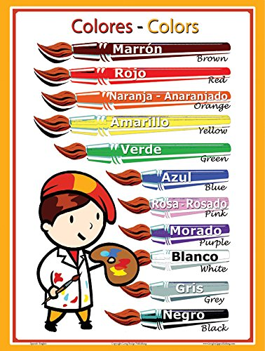 Spanish Language School Poster - Colors - Wall Chart for Home and Classroom - Spanish-English Bilingual Text (18x24 inches)