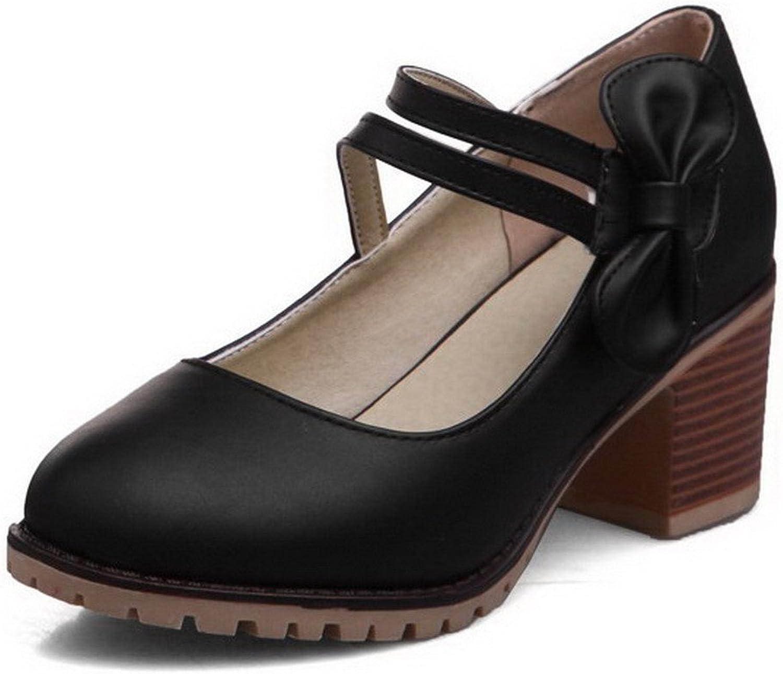 WeenFashion Women's Kitten-Heels Hook-and-Loop Round-Toe Pump-shoes