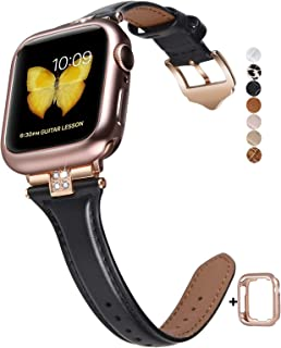 JSGJMY Slim Leather Bands Compatible with Apple Watch 38mm 40mm 42mm 44mm Women Top Grain Leather Strap with Diamond Rhinestone for iWatch Series 5/4/3/2/1 (Black/Rose Gold, 38mm/40mm)
