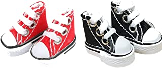 JIZHENG Mini Finger Shoes Skateboard Kits Cute Canvas Sneaker Skate Board Shoes Dance Shoesfor Finger Breakdance Fingerboa...
