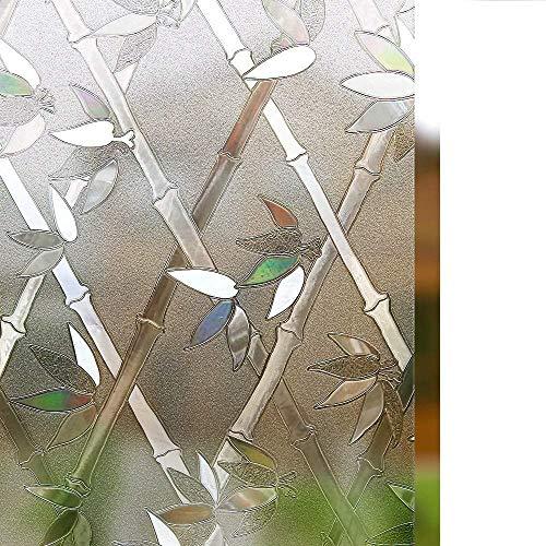 LMKJ Patrón de bambú Pegatina de Vidrio decoración del hogar Protector Solar 3D láser no Adhesivo película Adhesiva A101 30x200cm