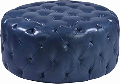 Benjara Round Leatherette Wooden Frame Ottoman with Tufted Details, Blue