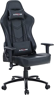 ALPHA HOME Gaming Chair Office Chair High Back Computer Chair PU Leather Desk Chair PC Racing Executive Ergonomic Adjustable Swivel Task Chair with Headrest and Lumbar Support,Black