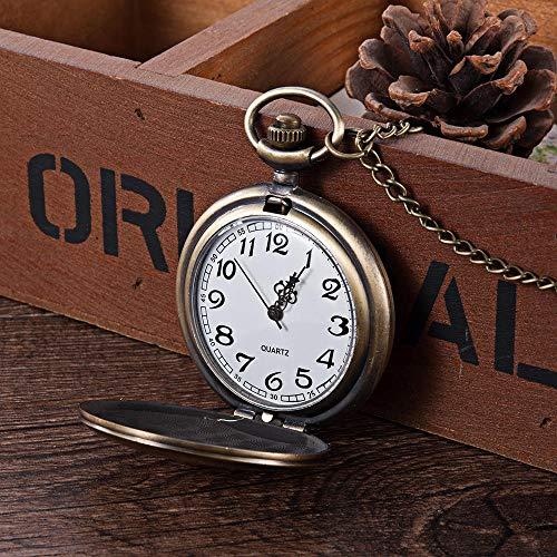 TAYIBO Vintage Unisex Reloj de Bolsillo Colgante,Reloj de Bolsillo Dorado Brillante Vintage,...