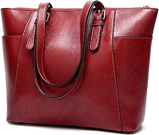 Fanspack Women Handbag Leather Simple Shoulder Bag Vintage Large Capacity Tote Bag