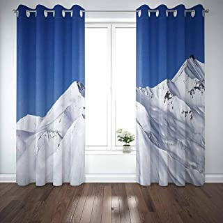 Mrcrypos 52X63 Inch Cool Curtains for Windows,Snowy Winter Mountains Clear Blue Sky in Sun Day Mountains View from Ski Resort Georgia 2 Panels Rustic Window Curtains for Bedroom Kitchen Bathroom