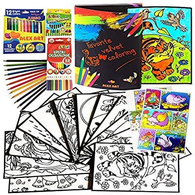 Alex Art Kit with Fuzzy Velvet Coloring Posters - Arts and Crafts for Girls & Boys - Creative Art Set for Kids - Best Birthday Gift for 4 5 6 7 Year Old Girls Toys - Art for Girls Ages 7-12,4-8