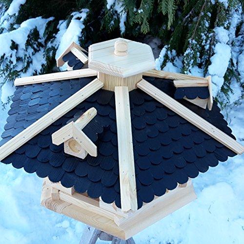 Vogelhaus Vogelhäuser Vogelfutterhaus Vogelhäuschen aus Holz Schreinerarbeit Gaube Schwarz sehr Groß XXL - 2
