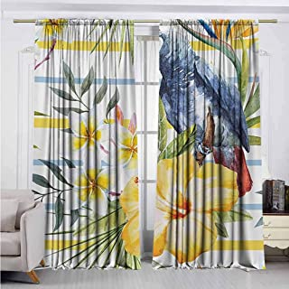 Alston Bertha Parrot Shading Insulated Curtain Tropic Pattern with Parrot Orchids and Hibiscus Flowers Hawaiian Jungle Style Image Soundproof Shade W100 x L84 Inch Multicolor