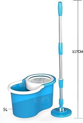 HOUZIE Plastic Magic Spin Mop (47 x 23 x 23 cm, Blue)