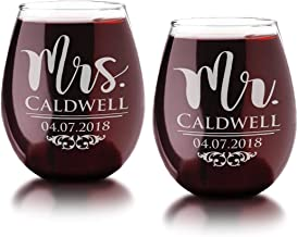 Classy 21oz Wife Husband Mr Mrs Personalized Stemless Wine Glasses Set of 2 Anniversary His Her Etched Favor Wine Lover Birthday Wedding Gifts