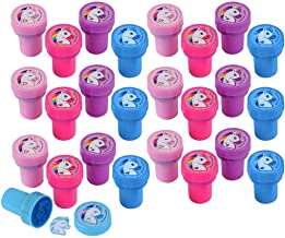 Kicko Mini Plastic Rainbow Unicorn Stampers - 24 Pack Unicorn Stamps for Kids - Assorted Toy s, My Little Pony Party Favors, Arts and Crafts Activity, Birthday Loot Bags and Pinata Filler