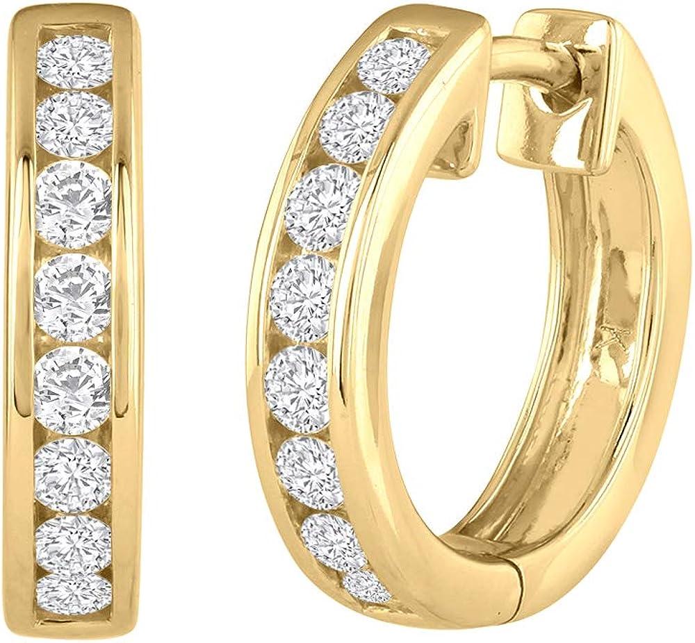 1/2 Carat Channel Diamond Hoop Earrings in 10K Gold