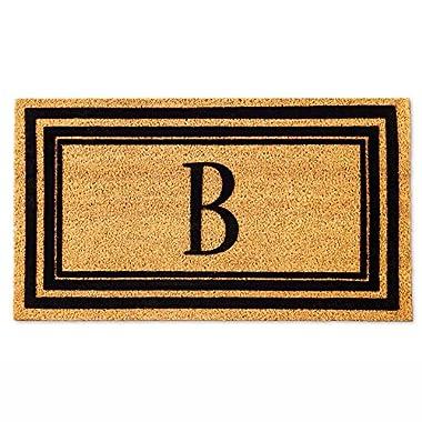 Evergreen Flocking MonogramNatural Coconut Fiber Coir Floor Mat, 28 x 16 inches in Letter B